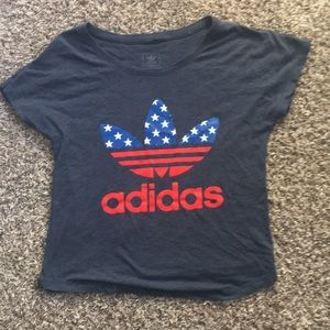 Adidas red white and blue top